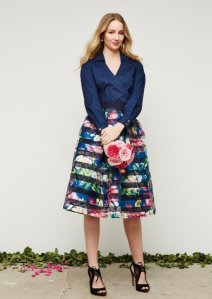 navy-organza-stripe-floral-box-pleated-skirt